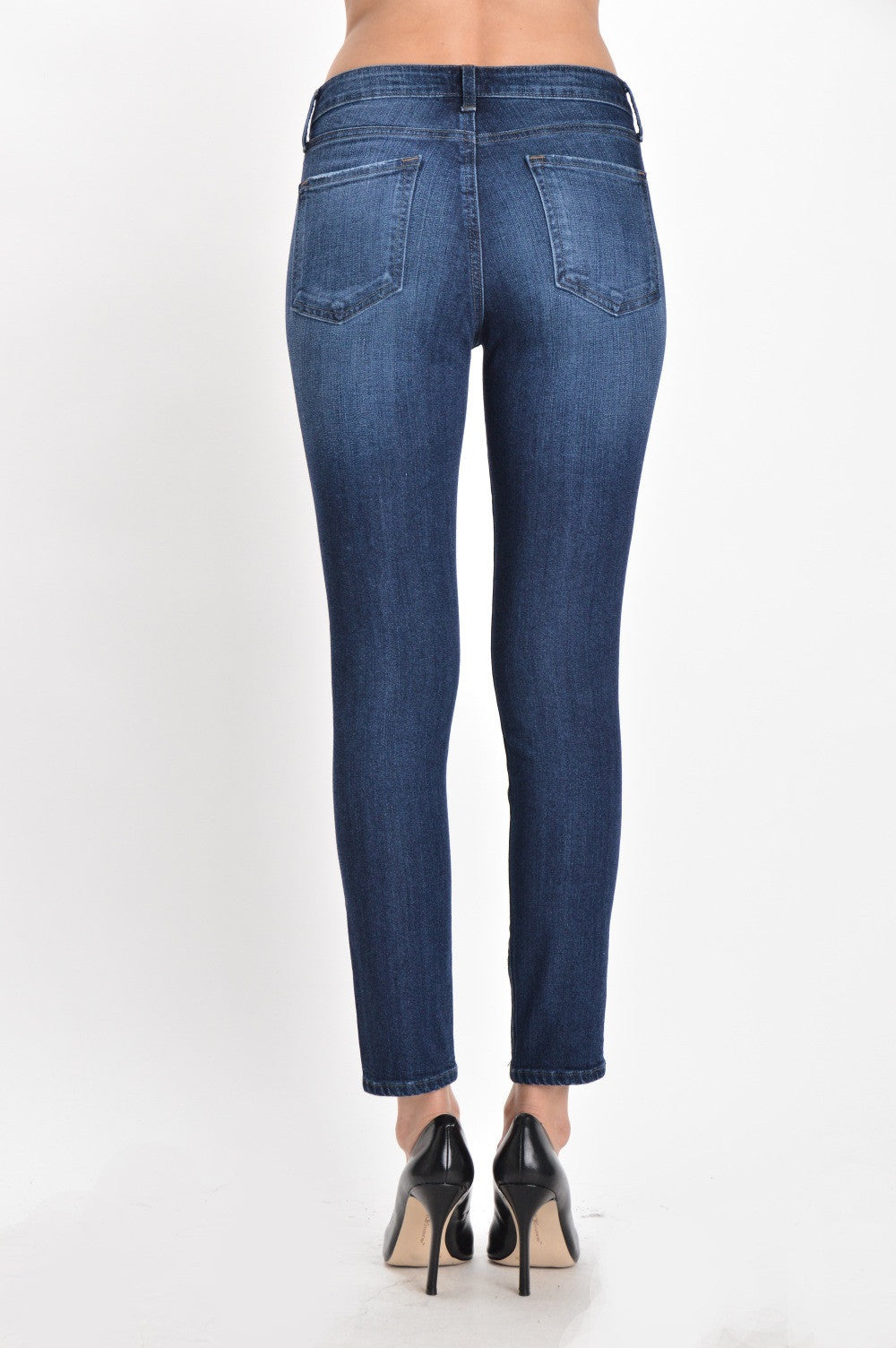 High Rise Classic Sand Wash Ankle Skinny Jeans - Dark Wash