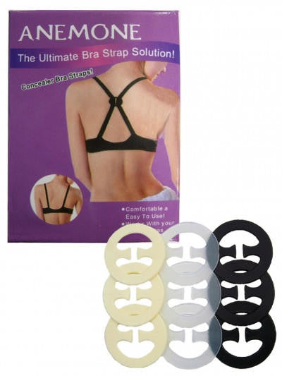 Pack of 9 Assorted Racerback Bra Clips - Black, Clear, and Nude