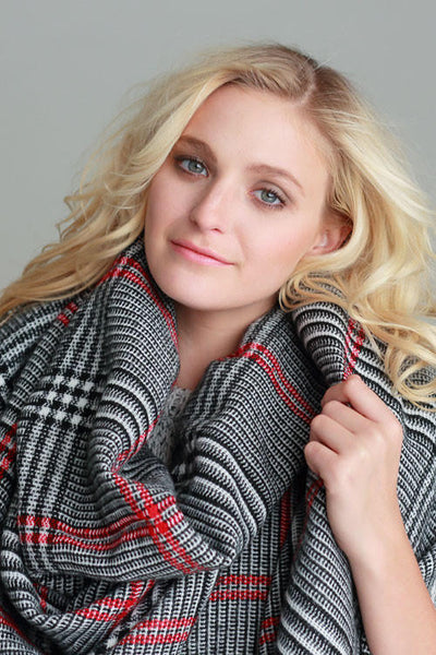 British Red Accent Plaid Blanket Scarf - Black