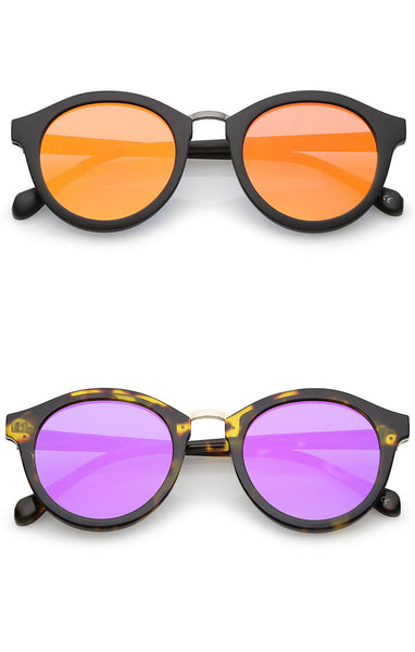 Rounded Frame Super Reflective Lens Sunglasses - Rose Gold/Black, Silver/Black, Blue/Black, Orange/Black or Purple/Tortoise