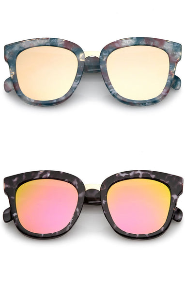 Thick Multi Tortoise Frame Reflective Lense Sunglasses - Rose Gold/Pink/Blue, Blue/Blue/Red, Gray/White/Black or Rainbow/Black/White