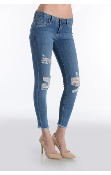 Frayed Hem Distressed Skinny Jeans - Medium Wash
