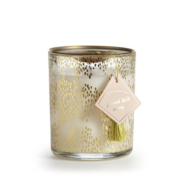 10oz Melrose Gold Patterned Glass Jar Candle - Pineapple Cilantro, Coconut Milk Mango or Grapefruit Oleander