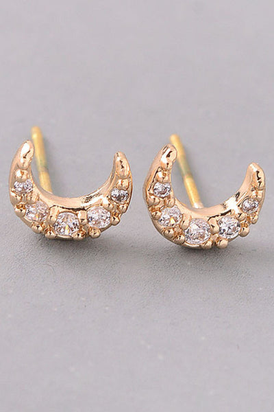 Bejeweled Dainty Crescent Moon Stud Earrings - Gold