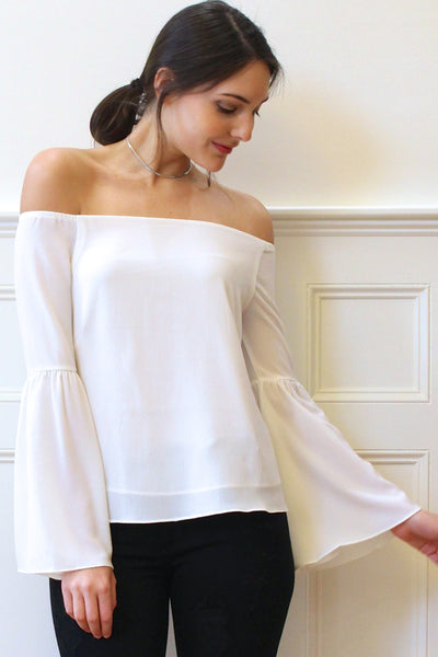 Adeline Off the Shoulder Bell Sleeves Blouse - Ivory