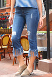 High Rise Straight Leg Crop Fringe Jeans - Medium Wash