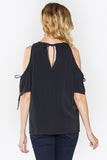 Estelle Drawstring Cold Shoulder Blouse - Black