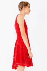 Crochet All Day Sleeveless Cut Out Detail Dress - Red