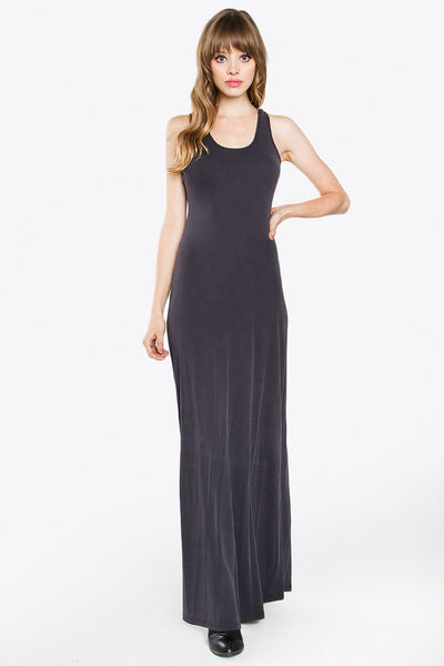 Classic Ribbed Jersey Maxi Dress - Washed Black