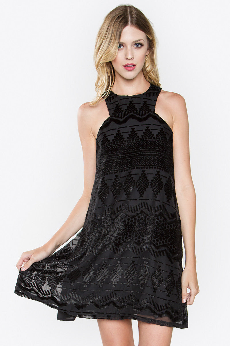 Ashlynn Burnout Velvet Trapeze Shift Dress - Black