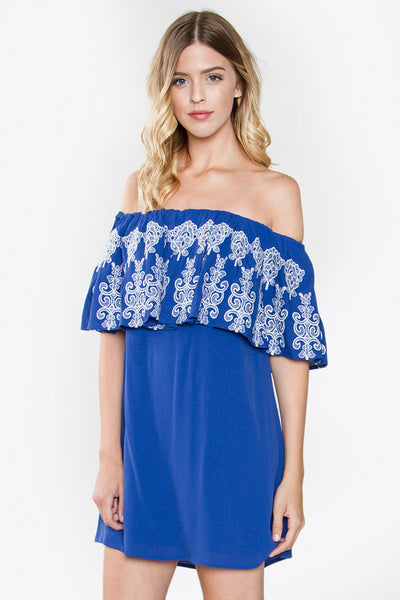 Delfina Embroidered Eyelet Off the Shoulder Dress - Blue/White