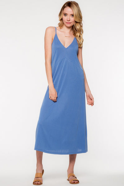 Sleeveless V-Neck Cami Style Midi Dress - Blue