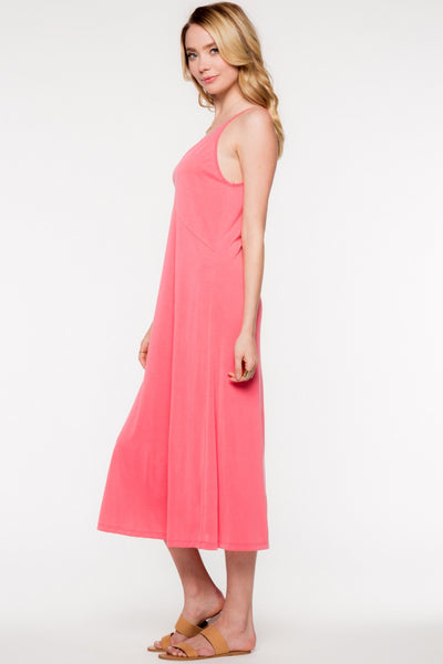 Sleeveless V-Neck Cami Style Midi Dress - Coral