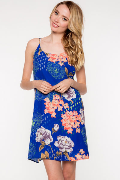 Sleeveless Cross Back Geometric Floral Print Dress - Royal/Multi