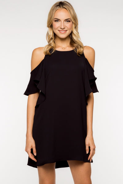 Off the Shoulder Ruffled Shift Dress - Black