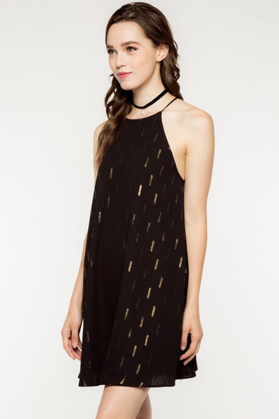Sleeveless Scattered Brushstrokes Shift Dress - Black/Gold