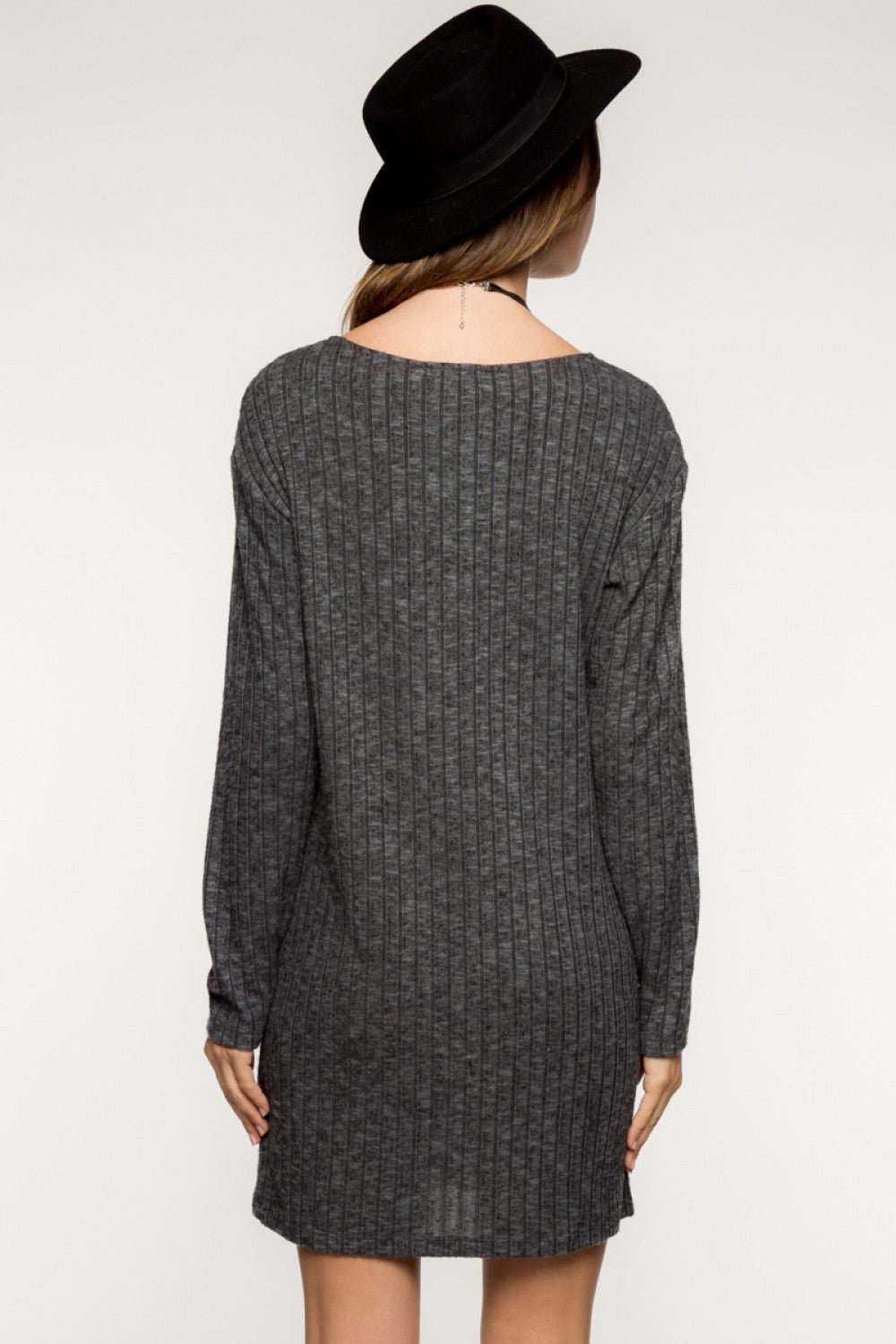 Long Sleeve Wide Ribbed Shift Dress with Pockets - Charcoal