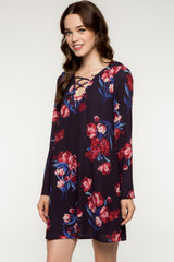 Long Sleeve Floral Print Criss Cross Strappy Front Shift Dress - Plum/Multi