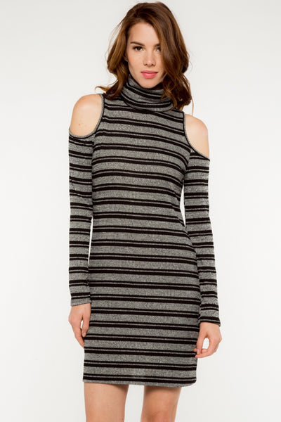 Long Sleeve Striped Open Shoulder Turtleneck Knit Dress - Charcoal