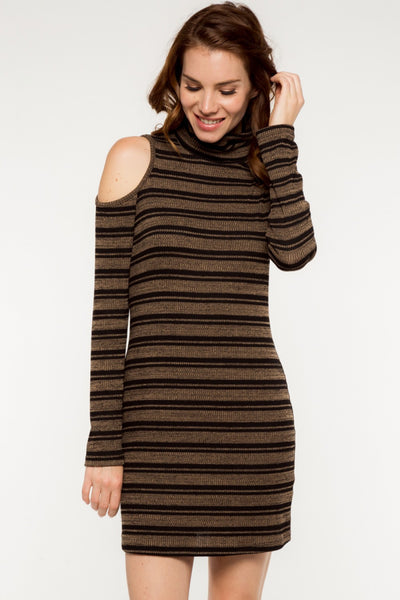 Long Sleeve Striped Open Shoulder Turtleneck Knit Dress - Latte