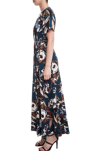 Short Sleeve Floral Print Wrap Front Maxi Dress - Teal/Multi