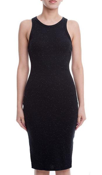 Sleeveless Space Dye Bodycon Midi Tank Dress - Black/Multi
