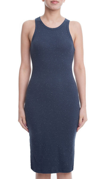 Sleeveless Space Dye Bodycon Midi Tank Dress - Navy/Multi