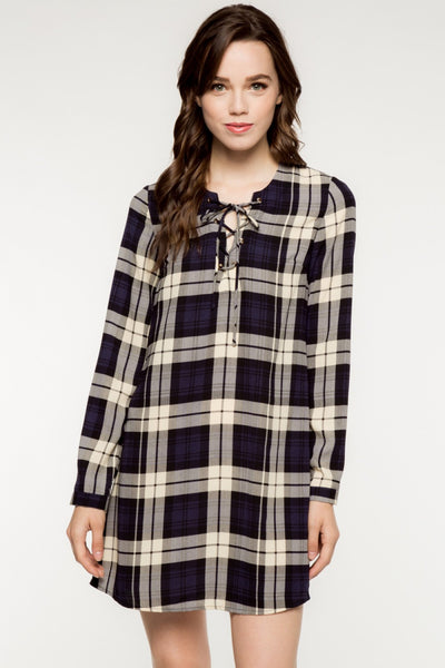 Long Sleeve Front Lace Up Plaid Shift Dress - Navy Blue