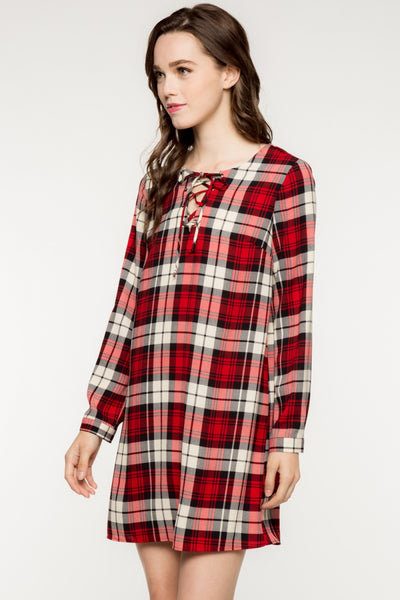 Long Sleeve Front Lace Up Plaid Shift Dress - Red