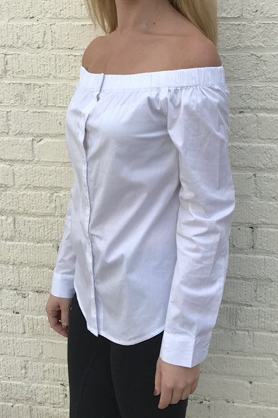 Long Sleeve Off the Shoulder Button Down Shirt - White