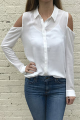 Long Sleeve Cold Shoulder Button Down Shirt - Ivory