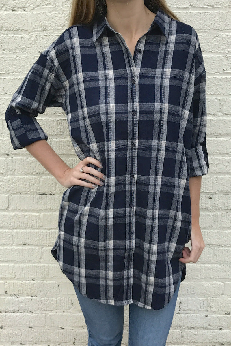 Plaid Button Down Tunic Shirt - Navy/White