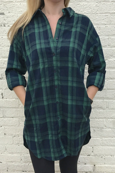 Plaid Button Down Tunic Shirt - Navy/Green