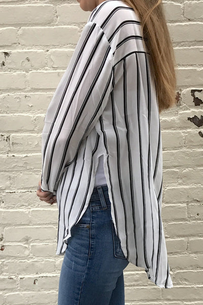 Striped Button Down Shirt - White/Black