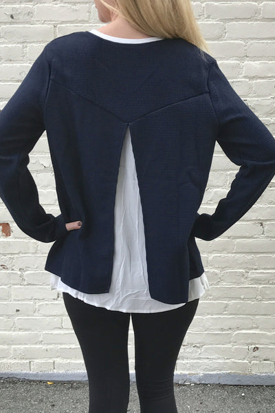Long Sleeve Layered Slit Back Waffle Sweater - Navy/White