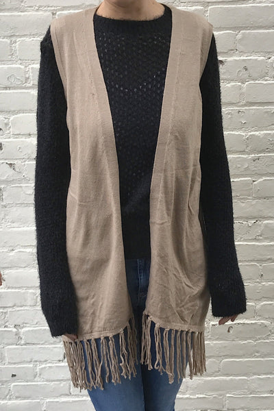 Draped Tunic Open Sweater Vest with Fringe - Taupe