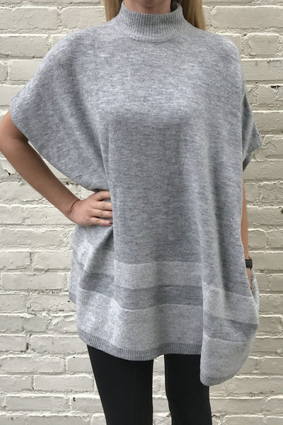Mock Neck Short Sleeve Striped Sweater Top - Gray