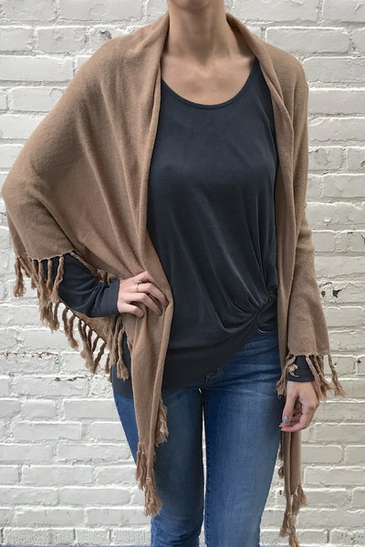 Bottom Fringe Poncho Cardigan - Taupe
