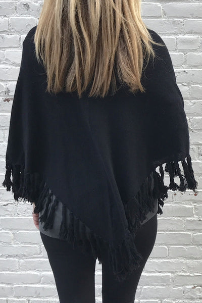 Bottom Fringe Poncho Cardigan - Black