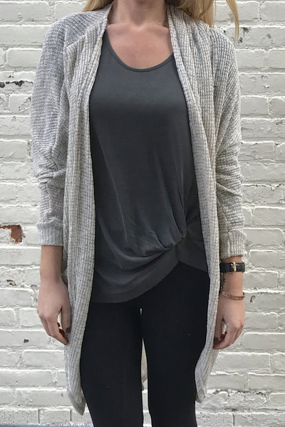 Lightweight Dolman Open Cardigan Sweater - Tapioca