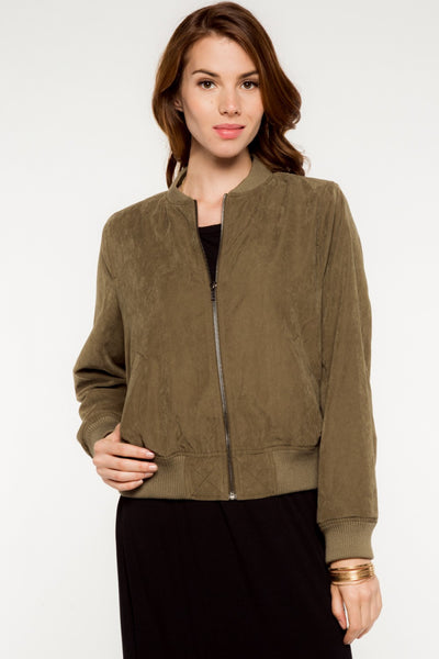 Suede Bomber Jacket - Hunter Green
