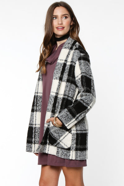 Plaid Single Button Wool Coat with Pockets - White/Black