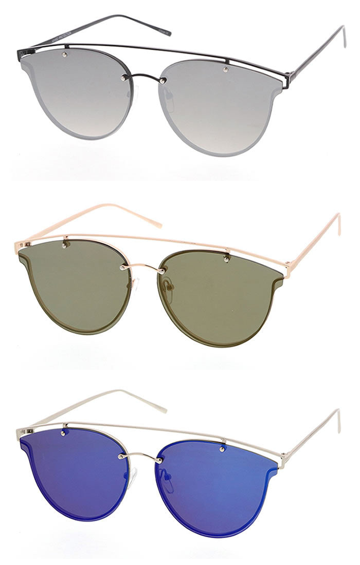 Metal Bridge Reflective Lens Aviator Sunglasses - Silver/Black, Green/Gold, Blue/Silver, Gold/Gold or Gray/Silver