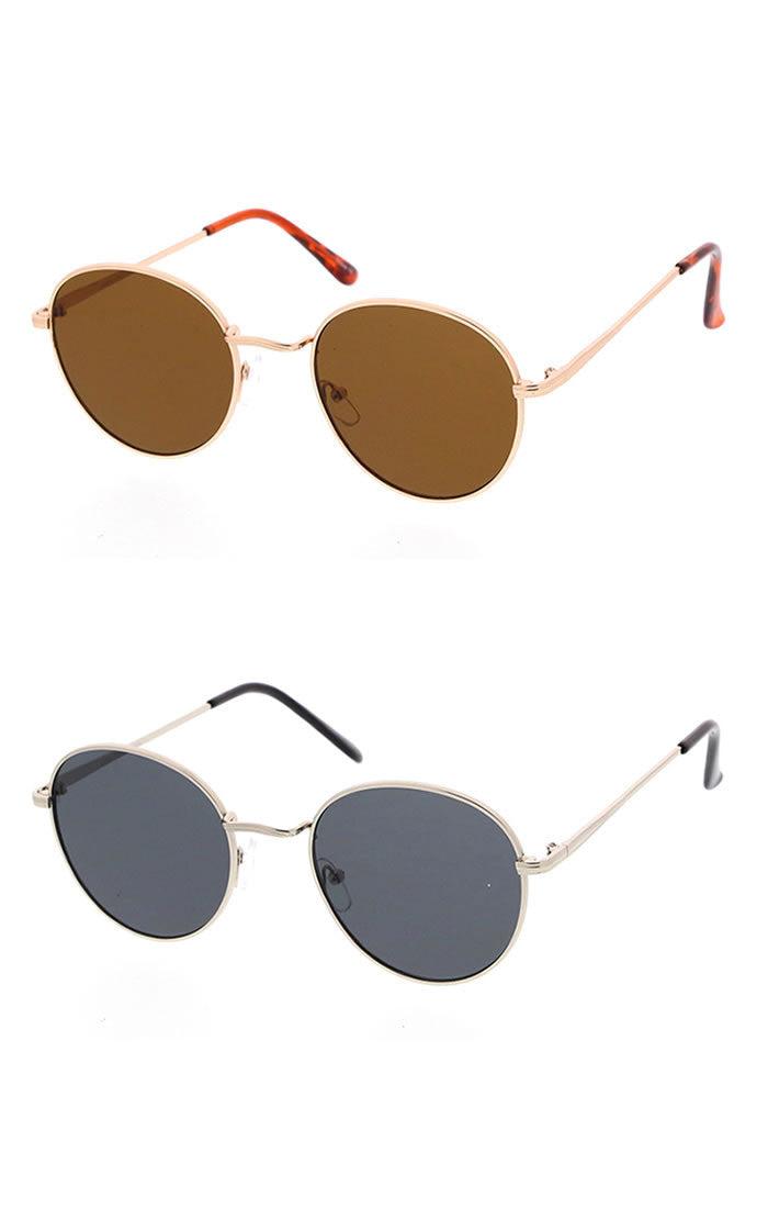 Classic Rounded Frame Sunglasses - Gray/Silver, Gray/Black, Green/Gold or Brown/Gold