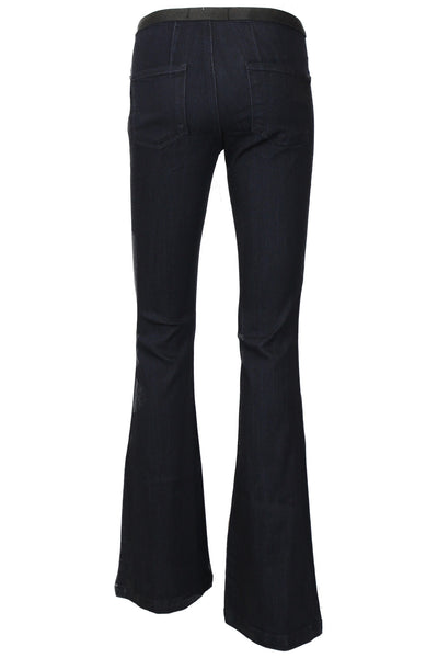 High Rise Elastic Waist Stretch Flare Jeans - Super Dark Wash