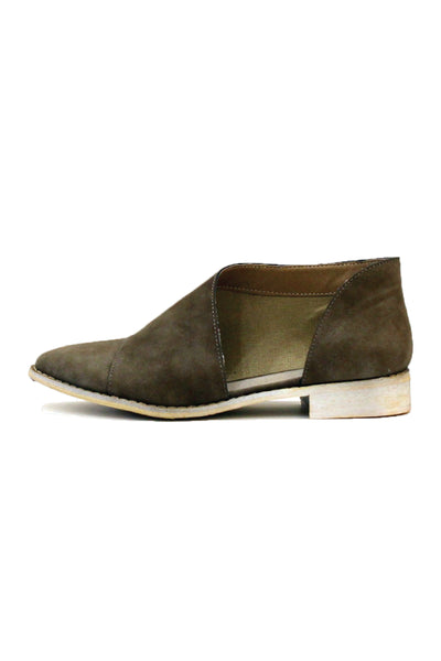 """Freya"" Side Cut Out Slip On Booties - Khaki"