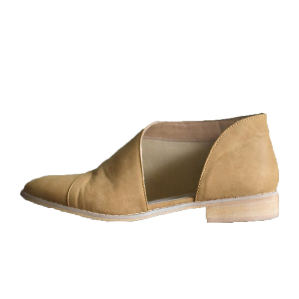 """Freya"" Side Cut Out Slip On Booties - Camel"