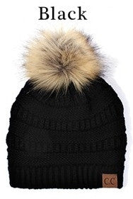 Ribbed Knit Beanie Hat with Faux Fur Pom Pom - Black, Dark Gray, Light Gray, Beige, Taupe, Burgundy, Navy or Olive