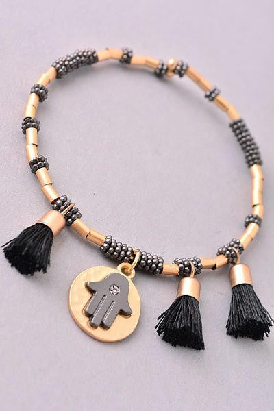 Hamsa and Tassels Beaded Bracelet - Gold/Black