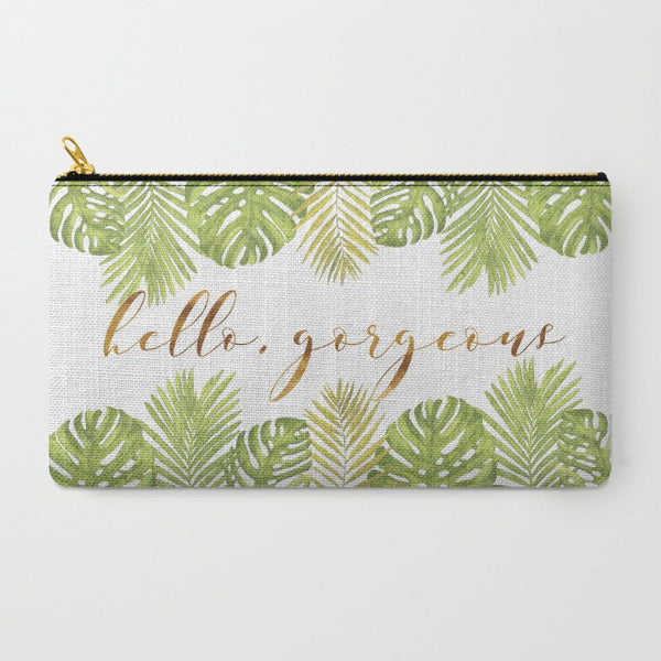 """Hello Gorgeous"" Palm Leaves Zipper Pouch - Green/Gold"